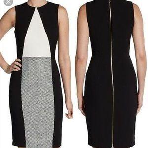 Calvin Klein Color Block Tweed Sheath Dress 2